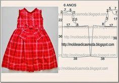ARTE COM QUIANE - Paps,Moldes,E.V.A,Feltro,Costuras,Fofuchas 3D: Molde Vestido de criança Vermelho com laço