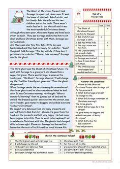 """A Christmas Carol"" - simplified version (KEY included) worksheet - Free ESL printable worksheets made by teachers"