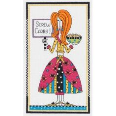 """Dolly Mama's Screw Carbs Counted Cross Stitch Kit-6""""X10"""" 14 Count: Amazon.ca: Home & Garden"""