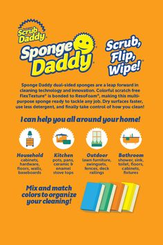 Scrub Daddy, Clean Technology, Kitchen Sponge, Any Job, Uk Homes, See On Tv, Better Love, New Sign, Scrubs