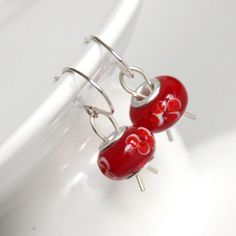 Red Sterling Earrings Made in USA 925 Silver Red by CraftedLocally, $16.00