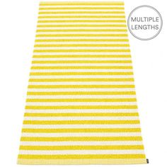 Strike bold with Pappelina's lemon and vanilla striped Duo rug and add a pop of colour to your room.  The 85 cm wide Pappelina Duo is uniquely woven using an exceptional number of warp threads and comes in two practical lengths.  Pappelina rugs are fantastic for areas with heavy foot traffic. They are woven from soft plastic using traditional Swedish techniques, they are fully reversible and washable, although a quick vacuum is all they will need to keep them looking good as new.