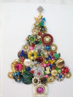 Framed Vintage Jewelry Christmas Tree, Shiver by Sunny Day Vintage by SunnyDayVintageAnnex on Etsy