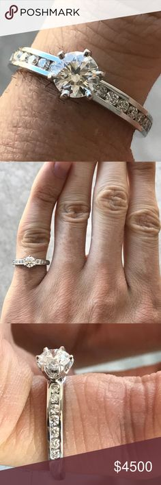 Tiffany platinum 0.77 CTW engagement ring round Tiffany platinum 0.77 CTW engagement ring . Center stone 0.47 round e color vs1 . Comes with Tiffany paperwork authenticity . Retail around 9k Tiffany & Co. Jewelry Rings