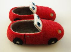 Felted children slippers red race car by elevele on Etsy, $59.00