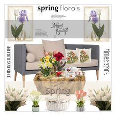 """""""Spring Florals"""" by stranjakivana ❤ liked on Polyvore featuring interior, interiors, interior design, home, home decor, interior decorating, SONOMA Goods for Life, Tommy Bahama, Picnic at Ascot and National Tree Company"""