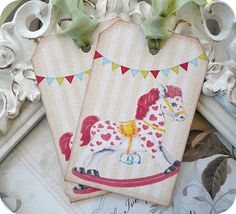 NEW   Vintage Rocking Horse Tags  Set of 6 by LittlePaperFarmhouse, $5.95
