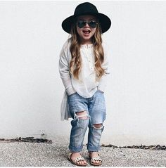 Oh my word cutest #hipster baby ever! Look at her #destroyedjeans and #blackfelthat