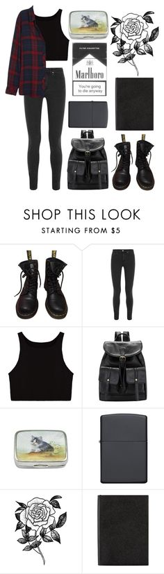 """Без названия #23"" by redruum on Polyvore featuring мода, Dr. Martens, Acne Studios, Zippo, Forever 21, Smythson и Rails"