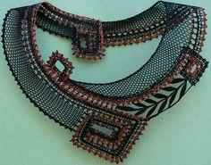 "Photo from album ""Вологодское +++"" on Yandex. Col Crochet, Crochet Collar, Freeform Crochet, Lace Jewelry, Textile Jewelry, Jewellery, Types Of Lace, Bobbin Lace Patterns, Bold Necklace"