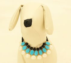 Blue Pearl Dog jewelry- Pet accessories, Pearl Necklace, dog birthday gift, Pet wedding accessories, Dog beaded Necklace