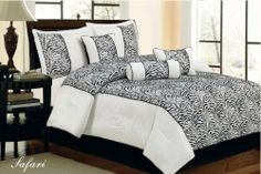 """7 Piece Faux Silk Flocking Black/white Zebra Comforter Set Queen by Royal Luxury LINEN. $61.50. NICE FILLED COMFORTER USE FOR SUMMER OR WINTER. FABRIC CONTENT 100 POLYESTER. ROYAL LUXURY ZEBRA 7 PIECE COMFORTER SET. CARE INSTRUCTION  MACHINE WASHABLE IN COLD OR WARM WATER. MADE IN CHINA. QUEEN SIZE COMFORTER SET ONE QUEEN COMFORTER 86""""X86"""" TWO PILLOW SHAMS 20""""X28""""+2 THREE FILLED DECORATIVE PILLOWS ONE BED SKIRT 60""""X80""""+15. Save 28%!"""
