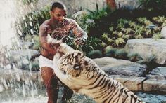 Mike Tyson playing with tiger