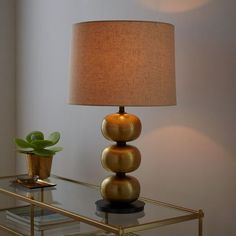 Abacus Hammered Metal Table Lamp - Antique Brass   west elm