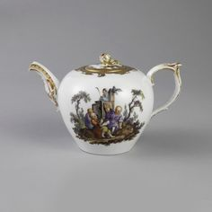 Teapot And Lid (Germany) ca. 1770 Glazed and gilt porcelain with overglaze decoration. Bequest of Erskine Hewitt.