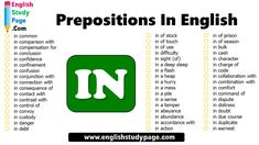Prepositions In English, Prepositional Phrases with IN - English Study Page Prepositional Phrases, In Distress, Prepositions, English Study, Abundance, Prison, Collaboration, Action, Sleep