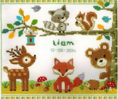 Vervaco Forest Animals Birth Sampler - Cross Stitch Kit. Kit includes 14 Ct…