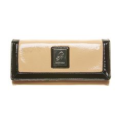 """Contrast-Sand Grace Adele Wallet    Two-toned and fabulous, this glossy full-size wallet features contrasting trim and enough interior pockets and slots to hold everything you need.     • Faux patent leather  • 7.5"""" L, 4"""" H    https://myfashions.graceadele.us/GraceAdele/Buy/ProductDetails/10480"""