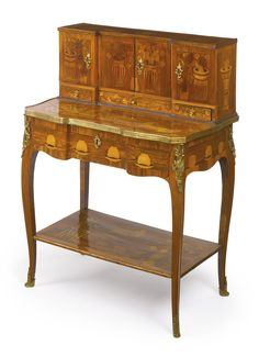 A Louis XV/XVI transitional ormolu-mounted tulipwood, fruitwood, kingwood and marquetry bonheur du jour attributed to Charles Topino circa 1770, Sotheby's
