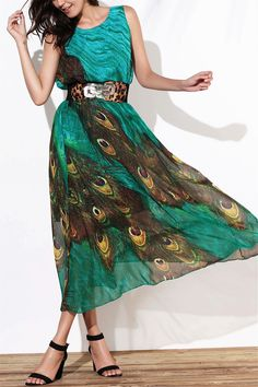 $14.97 Fashionable Scoop Neck Peacock Feather Print Sleeveless Dress For Women