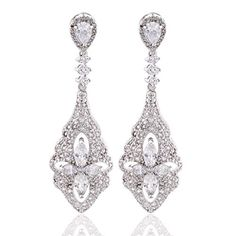 GULICX Wedding Clear Crystal And Cubic Zirconia Clover Flower Chandeliar Dangle Earrings Silver Tone -- Check this awesome product by going to the link at the image. Note:It is Affiliate Link to Amazon.