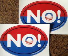 "Qty 2 NOBAMA Anti Obama 4""x6"" Oval Bumper Stickers Decal Car Sign Romney GOP | eBay"
