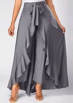 7e10a08dc2c7 Tie Front Grey Side Zipper Overlay Pants on sale only US 30.64 now