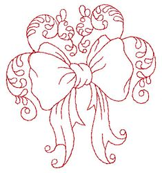 Christmas Bow Redwork embroidery design
