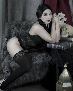 Wednesday Addams Cosplay by Jennifer Van Damsel Hot Goth Girls, Gothic Girls, Gothic Art, Wednesday Addams Cosplay, Girls Are Awesome, Pantyhose Lovers, Goth Beauty, Geek Girls, Cosplay Girls