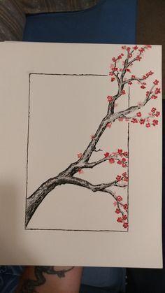 Tree Sketches, Art Drawings Sketches Simple, Pencil Art Drawings, Sketch Art, Drawing Drawing, Sketch Tattoo, Pencil Sketches Of Flowers, Tree Pencil Sketch, Black Pen Drawing