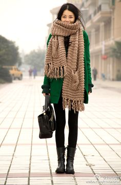 #winter #green #coat #black #bag #purse #shoes #boots #tights #scarf #patterns