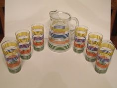 Indiana Glass Strata Iced Tea Set Blue Red Yellow Green Pitcher 6 Glasses Box