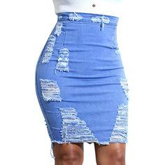 LAEMILIA Jupe en Jeans Femme Sexy Slim Courte Crayon Trous Déchirée Taille  Haute Stretch Denim Eté bb38f150cf9