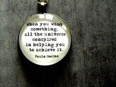 Quote pendant necklace Paulo Coelho - large long black white pendant - Inspirational Jewelry - Motto for Life pendant - Alchemist on Etsy, $23.00