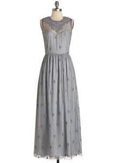 Ethereal Girl Dress in Fog - Grey, Solid, Lace, Special Occasion, Prom, Wedding, Bridesmaid, Vintage Inspired, Maxi, Sleeveless, Better, Variation, Homecoming