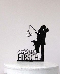 Personalized Wedding Cake Topper - Wedding Bride and Groom silhouette with personalized Initials and Mr&Mrs last name by Plasticsmith on Etsy https://www.etsy.com/listing/245861099/personalized-wedding-cake-topper-wedding