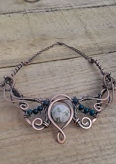 Copper Wire Necklace With Natural StonesCopper by Tangledworld