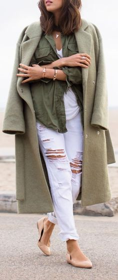 Olive Green Long Line Coat by Song Of style