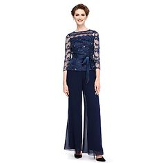 Sheath / Column Pantsuit Bateau Neck Ankle Length Chiffon Beaded Lace Mother of the Bride Dress with Beading Bow(s) Crystal Detailing Wedding Pantsuit, Wedding Jacket, Beaded Chiffon, Beaded Lace, Dress With Bow, Lace Dress, Elegant Dresses, Nice Dresses, Mother Of The Bride Suits