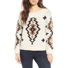 Women's Moon River Knit Scooped Neck Sweater (5.855 RUB) ❤ liked on Polyvore featuring tops, sweaters, nautral, white chunky knit sweater, white top, geometric sweater, geometric print sweater and knit sweater