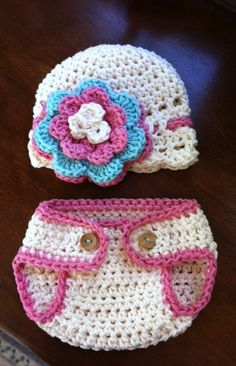 crochet pink hat and diaper
