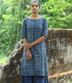 Dark Navy Blue Geometric Printed Soft Cotton Kurti