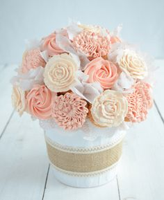 Mothers Day Ideas: DIY Cupcake Bouquet. Give your Mom these pretty cupcakes in a potted bouquet for her special day. Complete tutorial shows you how.