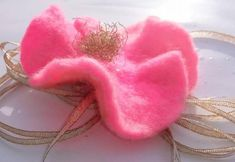 brooche or hair or hat clip. Green Stone, Love Valentines, Flora, Recycling, Free Delivery, Birthday, Brooches, Pink, Gifts