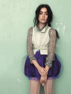 L'Wren Scott georgette blouse; Vera Wang eyelet mesh cropped vest; organza and tulle drawstring bubble skirt.