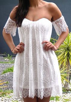With a bely. So Pretty! Love the Lace! Boho Chic White Lace Bandeau Wavy Edge Short Sleeve Lace Beach Dress