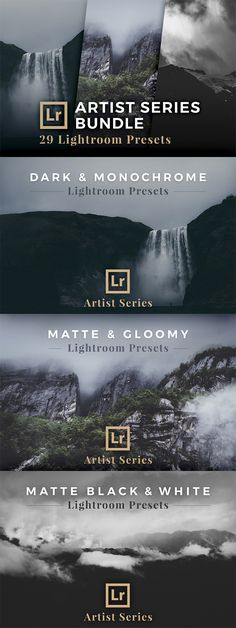 Get all Lightroom Presets from the Artist Series with a total of 29 presets for only $29!: Dark & Monochrome (5 Lightroom Presets),  Matte & Gloomy (8 Lightroom Preses), Matte Black & White (16 Lightroom Presets)