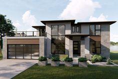 Modern Exterior House Designs, Modern Architecture House, Dream House Exterior, Dream House Plans, Modern House Plans, Modern House Design, House Ideas Exterior, Modern Home Exteriors, Sims 4 Modern House