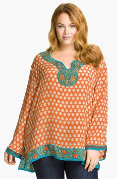 I love these colors and this pattern!  Silk Tunic #plus #size