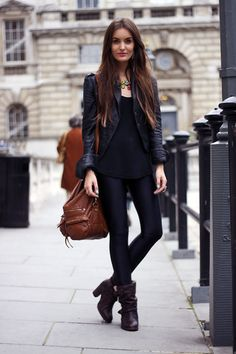 Love that, with replacing black jacket with a dark brown one that matches the boots!! Cute